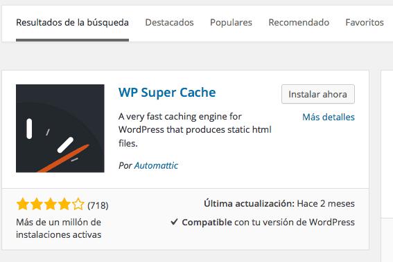 Instalar WP Super Cache