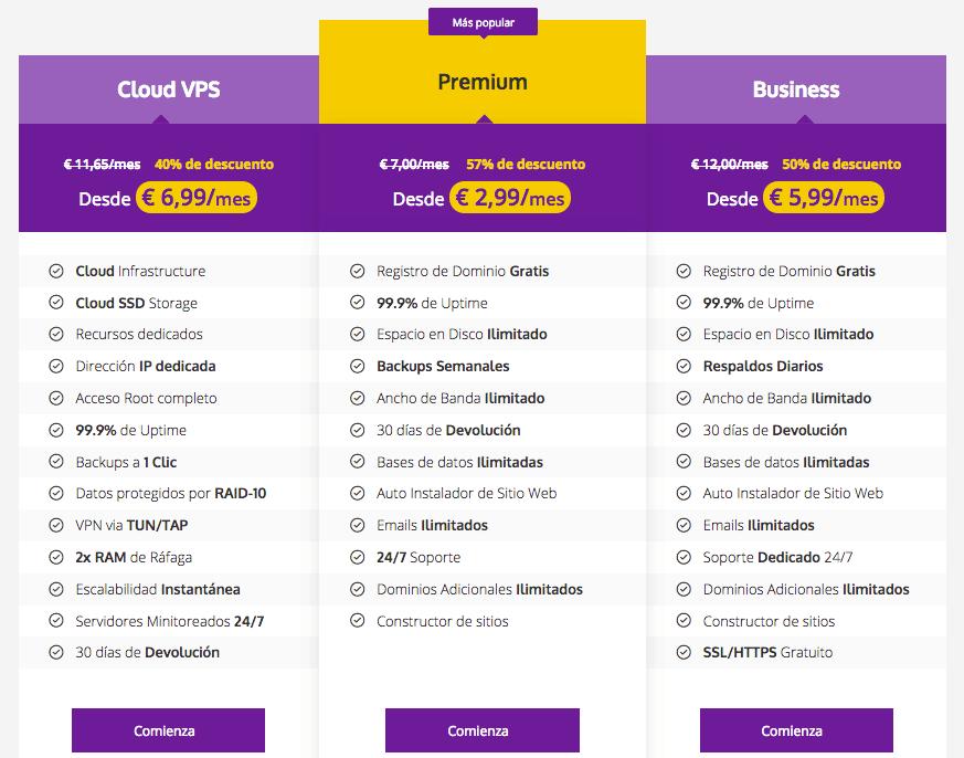 Planes precios hostinger.com