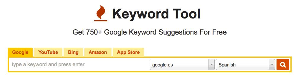 Planificador palabras keywordtool