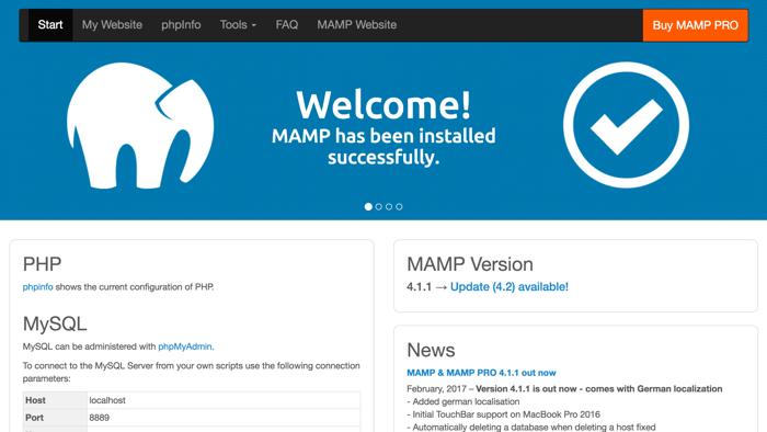 Web de MAMP