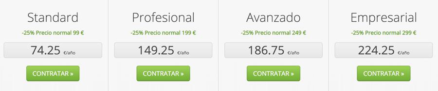 Precios actualizados con el cupon Webempresa